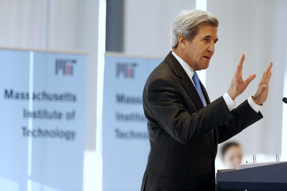 Secretary of State John Kerry speaks during a conference on climate change and innovation in clean energy at MIT in Cambridge Monday. (Michael Dwyer/AP)
