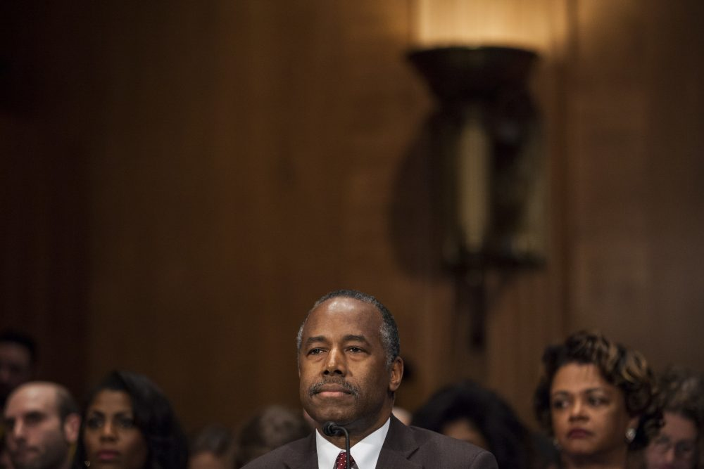 Housing and Urban Development Secretary-designate Ben Carson testifies on Capitol Hill Thursday. (Zach Gibson/AP)