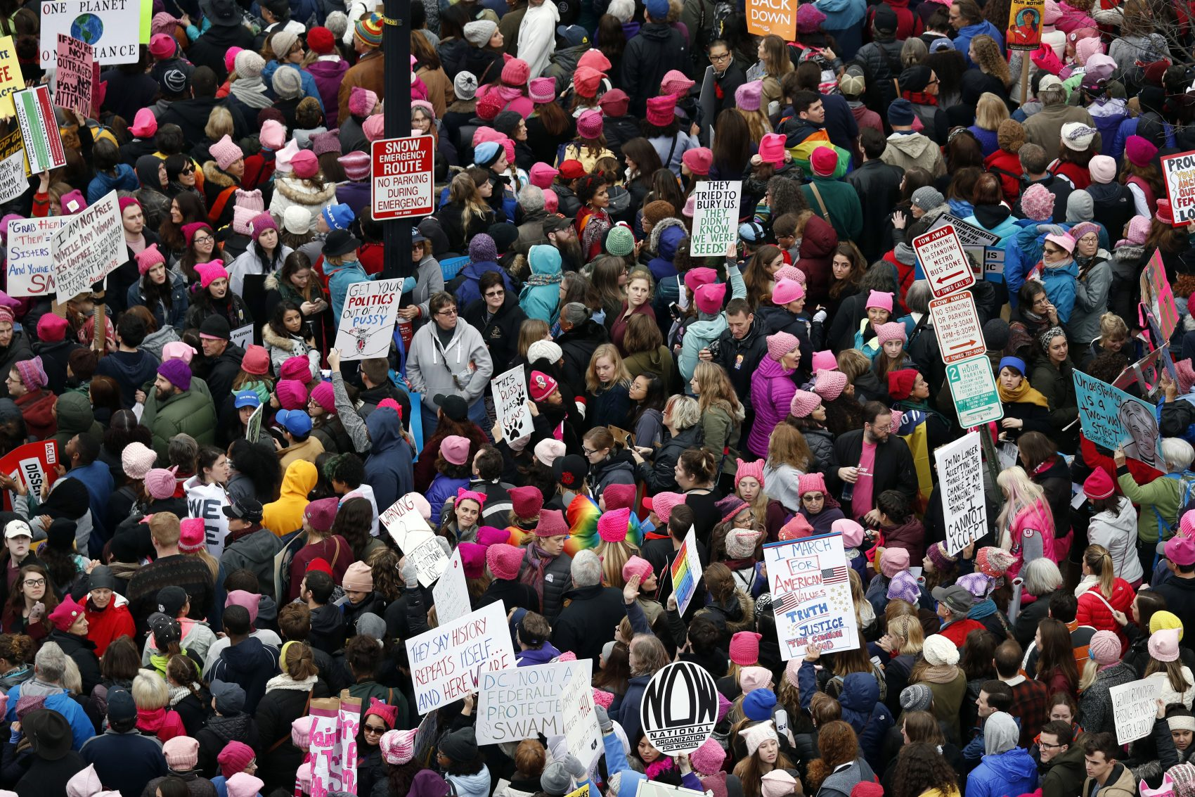 Margot Livesey writes that the Women's March in Washington -- a half-million protesters, no arrests -- demonstrates the power of bringing together people of different ages, colors, faiths and sexual orientations. A crowd packs Independence Avenue during the Women's March on Washington, Saturday, Jan. 21, 2017 in Washington. (Alex Brandon/AP)