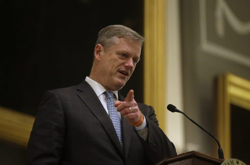 Gov. Charlie Baker speaks at Faneuil Hall in 2016. (Steven Senne/AP File)