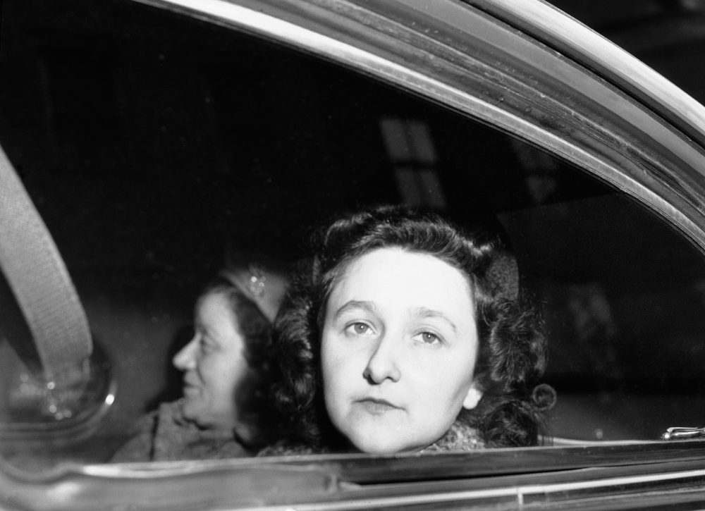 Ethel Rosenberg sits in car as she starts her trip to Sing Sing prison, April 11, 1951. (Anthony Camerano/AP)