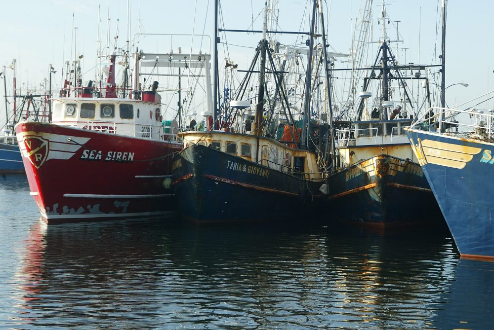 Fishing boats docked at the pier in New Bedford in 2004. (Stew Milne/AP)