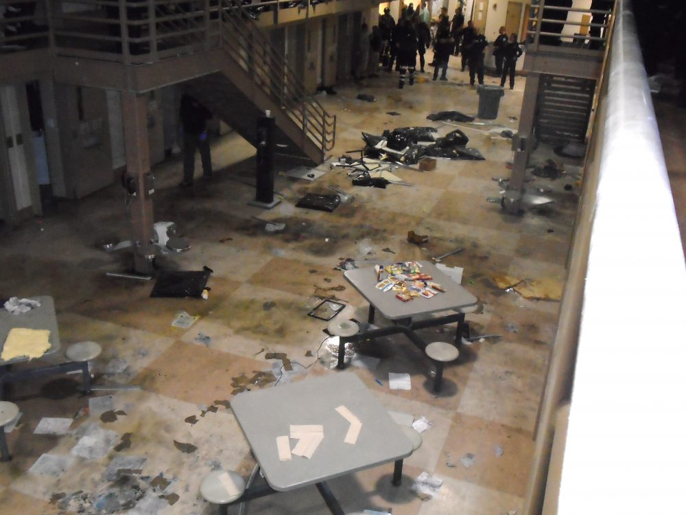 The destruction inmates caused at the Souza-Baranowski maximum-security prison (Courtesy Department of Correction)