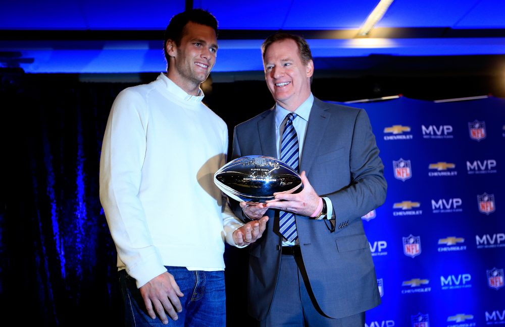 Roger Goodell suspended Tom Brady for the first four games of the 2016 season. And on Feb. 5, Goodell may find himself handing Brady another Super Bowl trophy. (Jamie Squire/Getty Images)