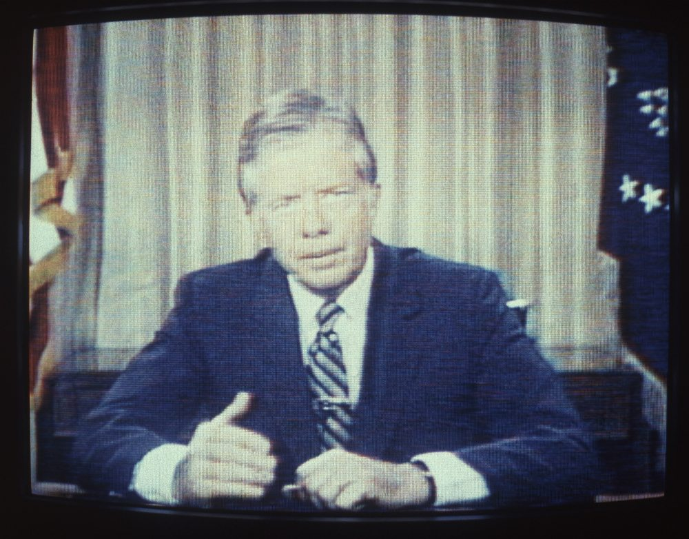 "President Carter's agenda to move our energy economy toward efficiency and renewable sources remains unfinished, yet more urgent than ever, writes Frederick Hewett. Pictured: U.S. President Jimmy Carter delivers his energy speech in which he spoke of a ""crisis of confidence"" July 15, 1979. The speech was referred to by some as his ""malaise speech,"" although he never used that word during it. (Dale G. Young/AP)"