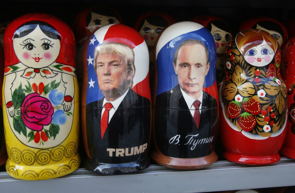 Sands have shifted in the Levant, writes Susan E. Reed, and urgent new problems now face the Trump administration. Pictured: Traditional Russian wooden dolls, Matryoshka, depicting Russian President Vladimir Putin and Donald Trump, displayed for sale at a street souvenir shop in St. Petersburg, Russia, Friday, Jan. 20, 2017. (Dmitri Lovetsky/AP)