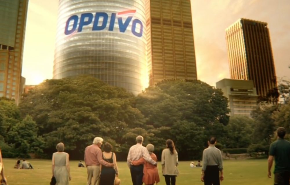 A screenshot of a recent TV ad for the immunotherapy drug Opdivo (YouTube)