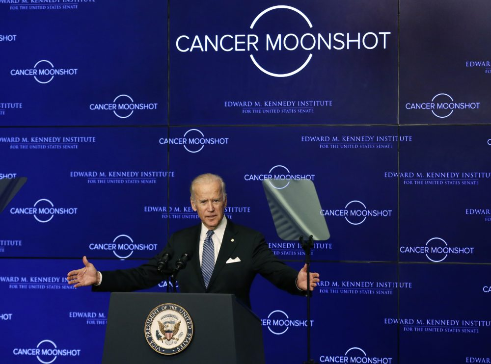"Vice President Joe Biden speaks at the Edward M. Kennedy Institute for the United States Senate, Oct. 19, 2016, about the White House's cancer ""moonshot"" initiative — a push to throw everything at finding a cure within five years. (Elise Amendola/AP)"