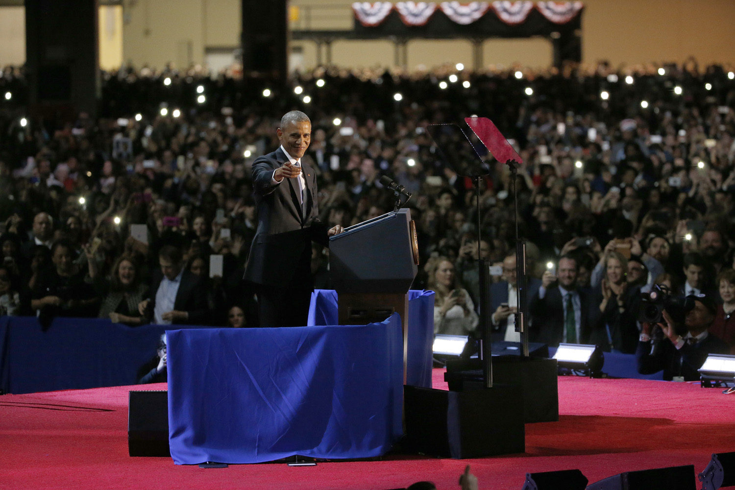 President Barack Obama speaks at McCormick Place in Chicago, Tuesday, Jan. 10, 2017, giving his presidential farewell address. (Nam Y. Huh/AP)