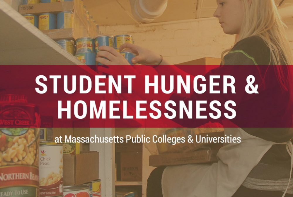 A survey conducted in fall 2016 finds hunger and homelessness on the rise on many Massachusetts campuses.