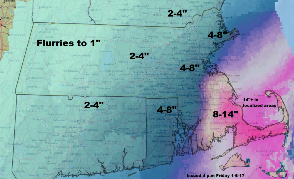 Over a foot of snow could fall south of Boston (Dave Epstein/WBUR)