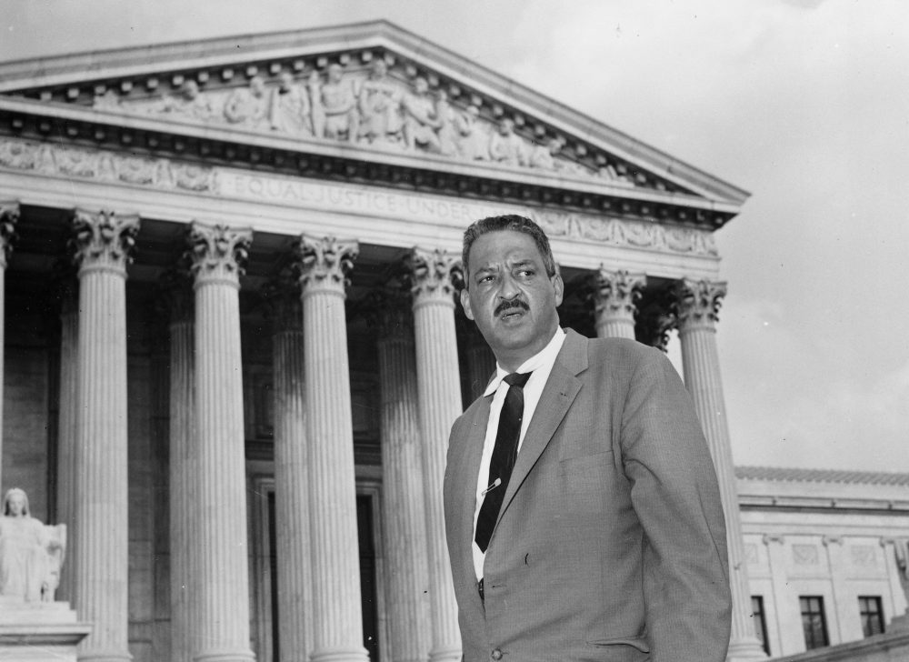 A production of the play 'Thurgood' is on stage at the New Rep Theatre through February 11. Pictured: Thurgood Marshall in 1958 outside the Supreme Court (AP)