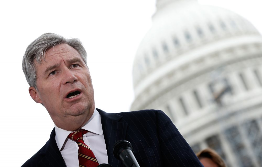 Sen. Sheldon Whitehouse (D-RI) speaks at a press conference outside the U.S. Capitol in September 2014 in Washington. (Win McNamee/Getty Images)