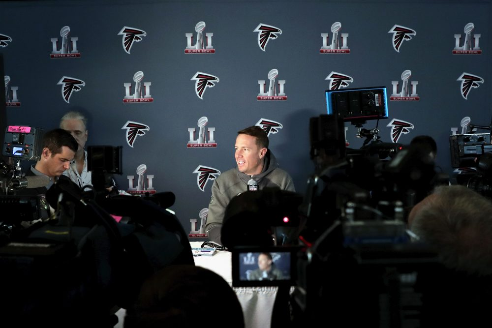 Matt Ryan of the Atlanta Falcons addresses the media at the Super Bowl LI press conference on Jan. 31, 2017 in Houston, Texas. (Tim Warner/Getty Images)