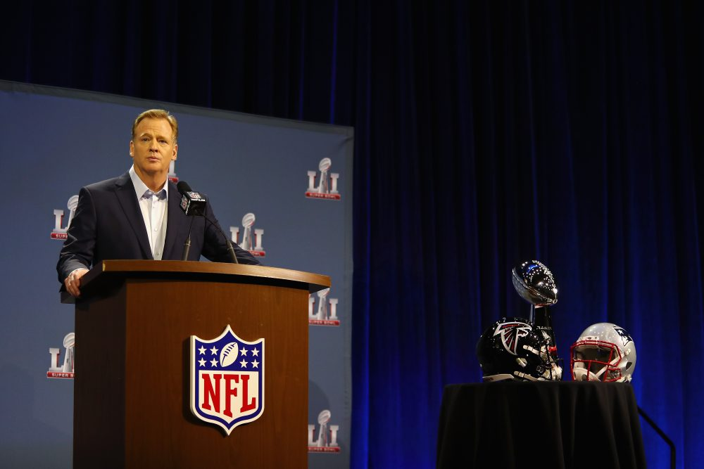 At the State of the NFL address on Wednesday, Commissioner Roger Goodell wasn't asked about head injuries. (Tim Bradbury/Getty Images)