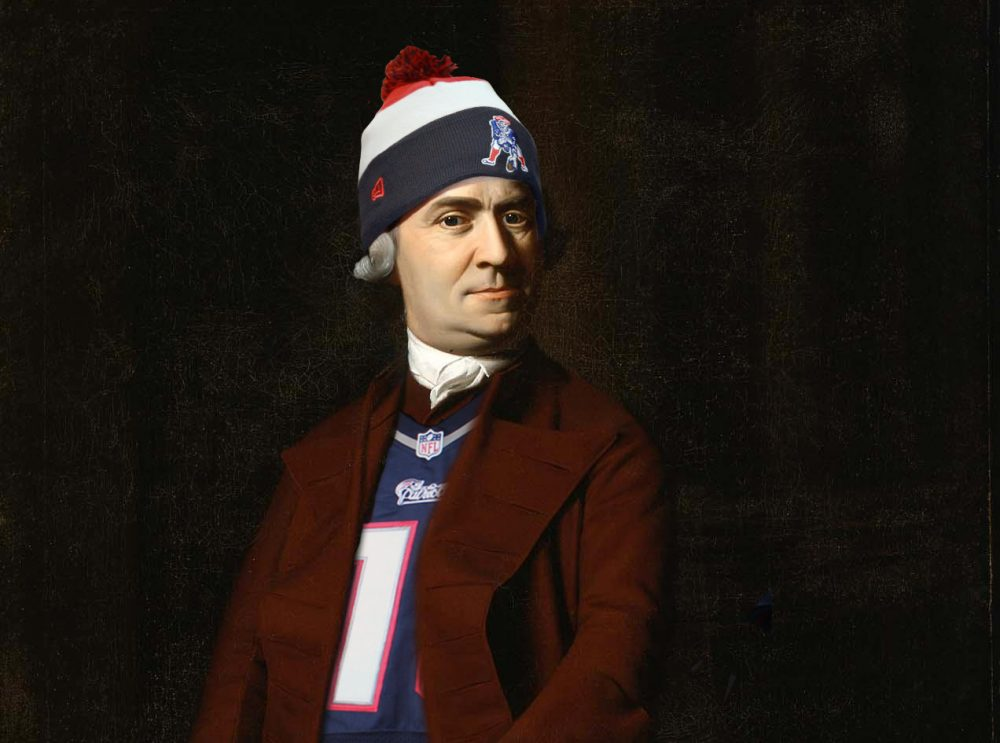 A digitally-edited painting of Sam Adams donning Patriots' gear for the MFA's contest with Atlanta's High Museum of Art. (Courtesy Museum of Fine Arts, Boston)