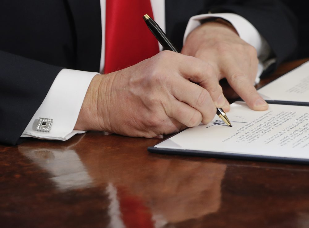 President Donald Trump signs an executive order in the Oval Office of the White House in Washington. (Pablo Martinez Monsivais/AP)