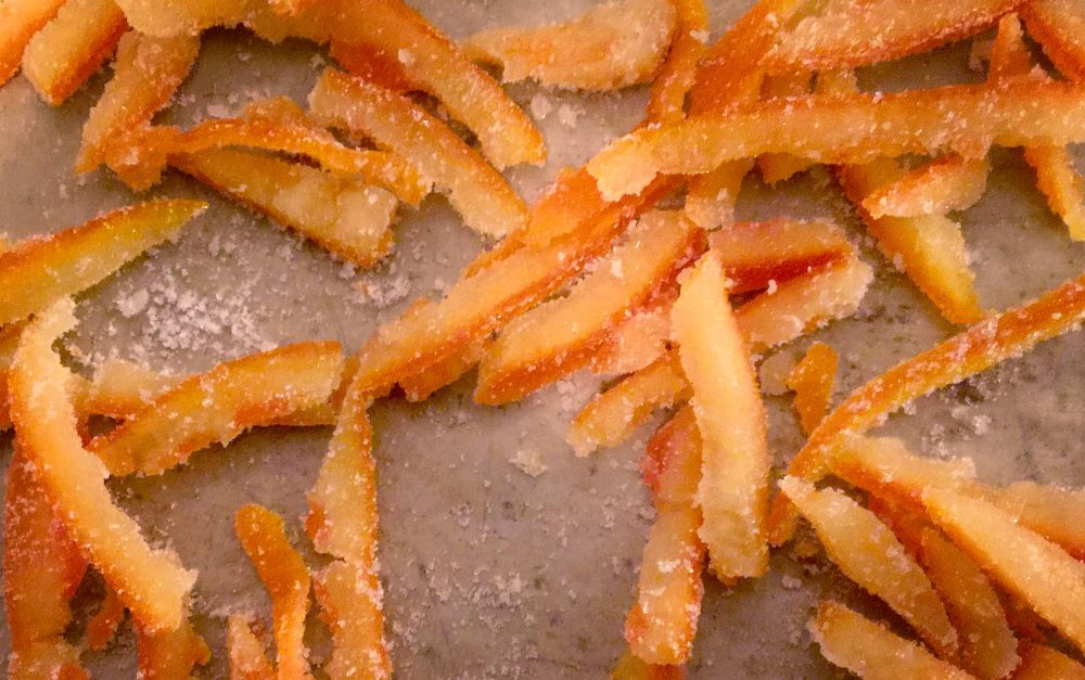 Kathy's candied citrus peel. (Kathy Gunst for Here & Now)
