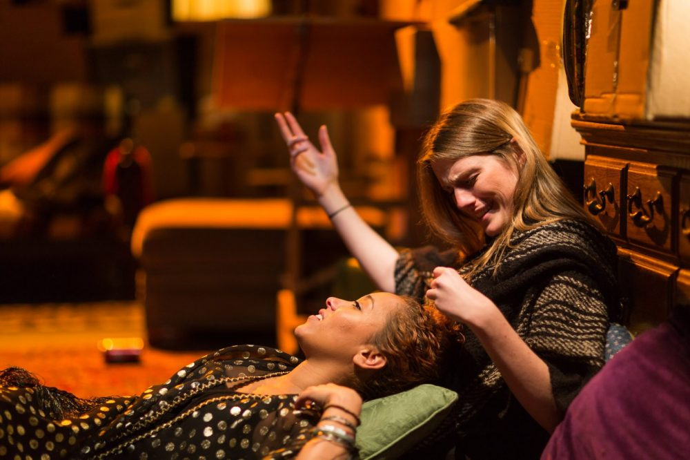 "Louise Hamill, right, in a Fresh Ink production of ""It's Not About My Mother"" staged at Boston Center for the Arts. Fresh Ink recently received status as a resident theater there, a distinction that makes performance space more accessible. (Courtesy Fresh Ink Theatre)"
