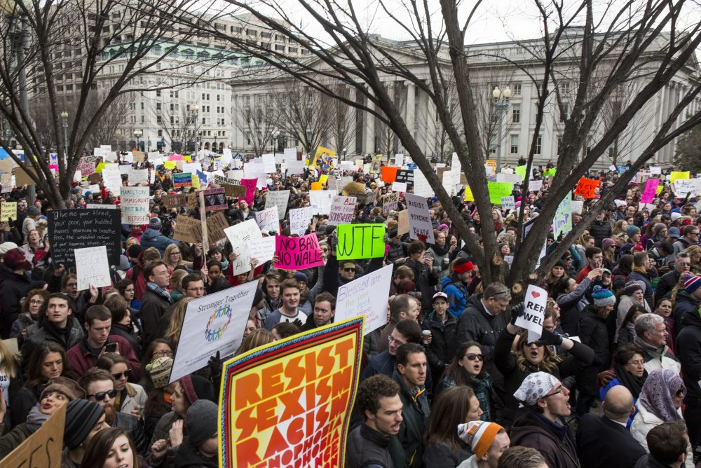 Demonstrators gather near The White House to protest President Donald Trump's travel ban on seven Muslim countries on Jan. 29, 2017 in Washington. (Zach Gibson/Getty Images)