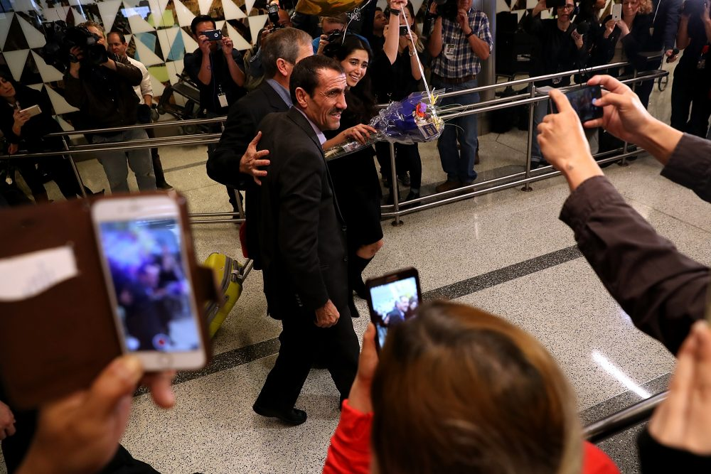 Iranian citizen Ali Vayeghan arrives at Los Angeles International Airport on Feb. 2, 2017. Vayeghan was detained and sent back to Iran after arriving in the United States on the day that President Donald Trump's travel ban was implemented. (Justin Sullivan/Getty Images)