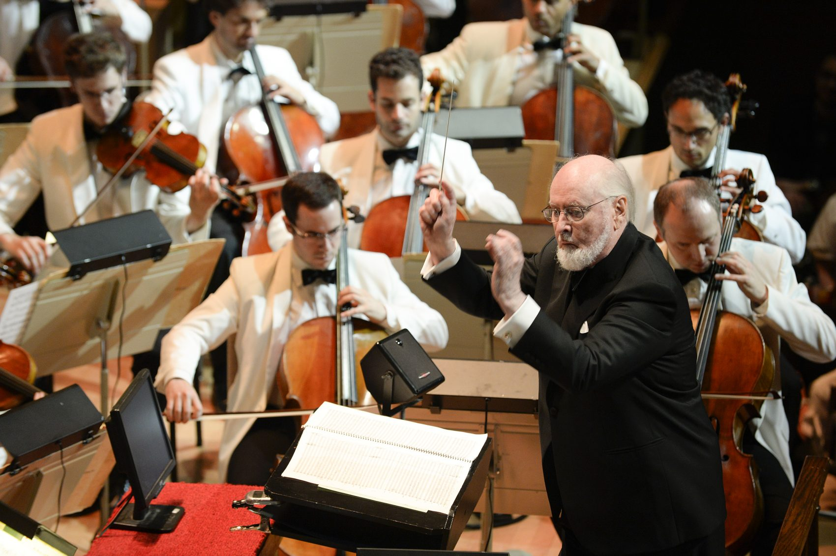 John Williams conducting at Film Night in 2014. (Courtesy Stu Rosner/Boston Symphony Orchestra)