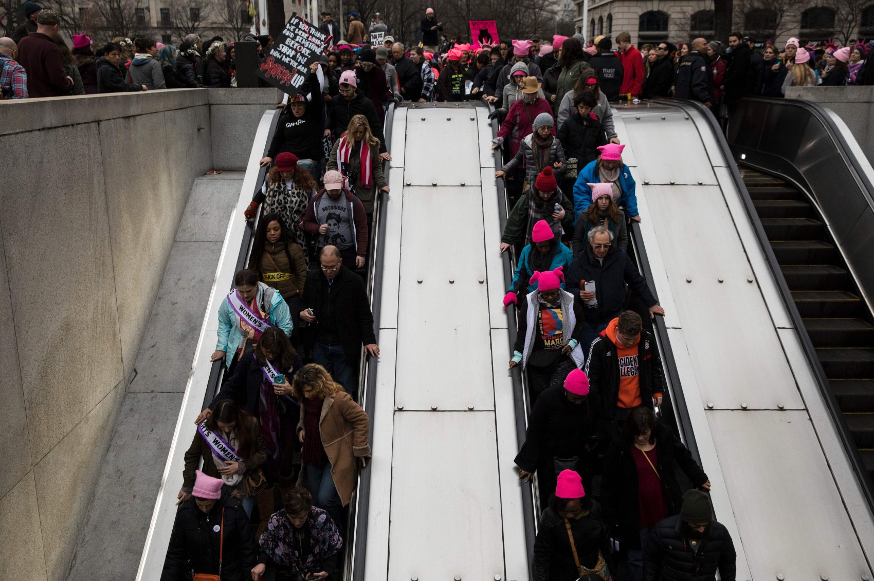 People make their way onto the National Archives Metro elevators during the Women's March on Washington Jan. 21, 2017 in Washington. (Zach Gibson/AFP/Getty Images)