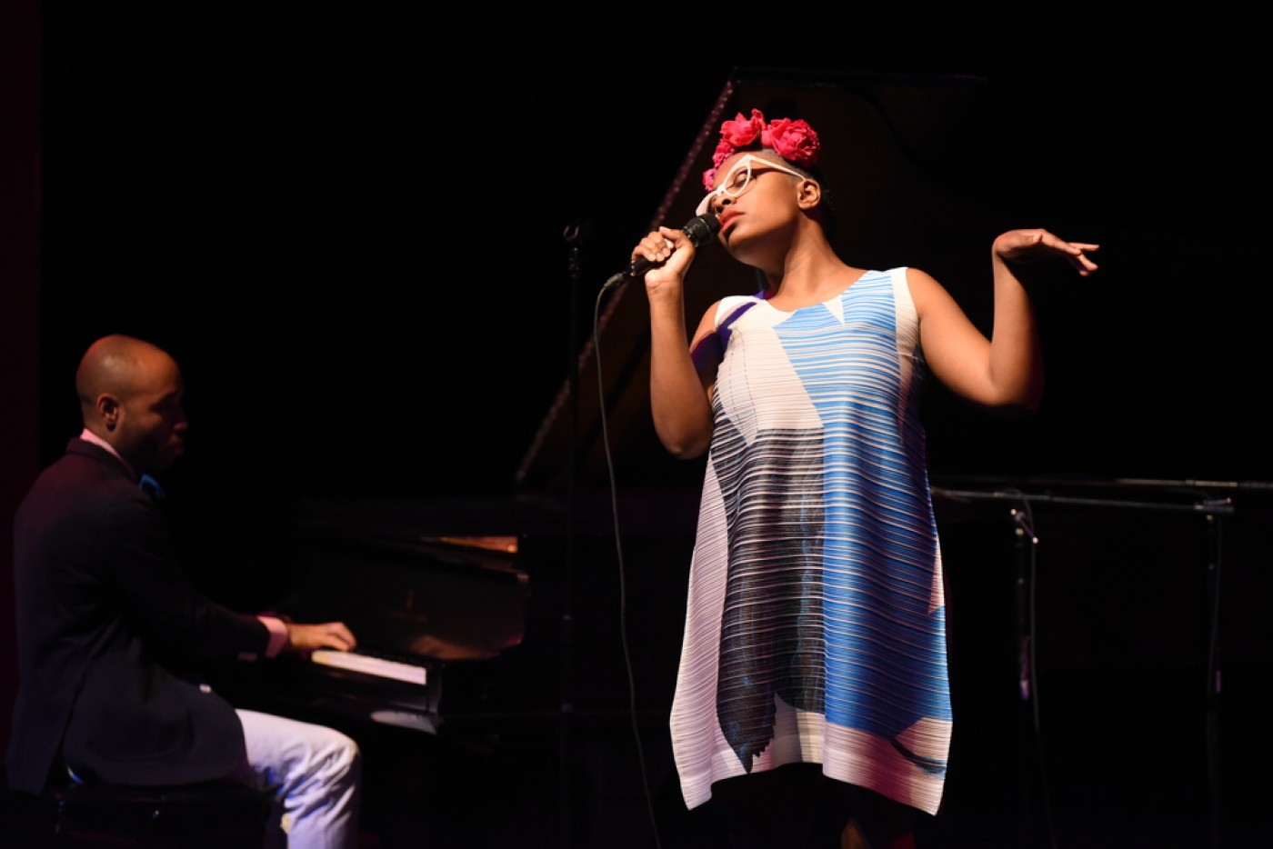 Aaron Diehl plays piano as Cécile McLorin Salvant sings. (Courtesy Celebrity Series of Boston)