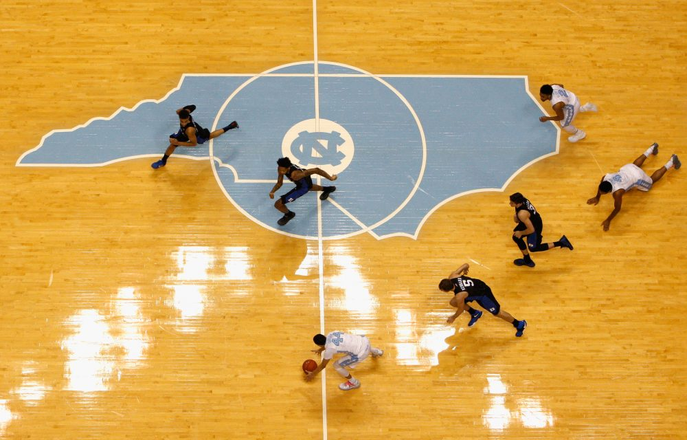 Halfcourt at the Dean Smith Center -- that's where a UNC ball boy became a star.  (Photo by Streeter Lecka/Getty Images)