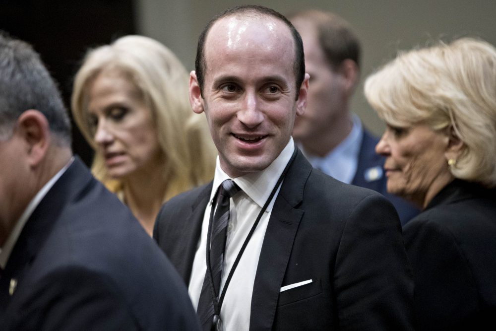 Stephen Miller, White House senior adviser for policy, arrives to a county sheriff listening session with President Donald Trump, not pictured, in the Roosevelt Room of the White House on Feb. 7, 2017 in Washington. (Andrew Harrer - Pool/Getty Images)