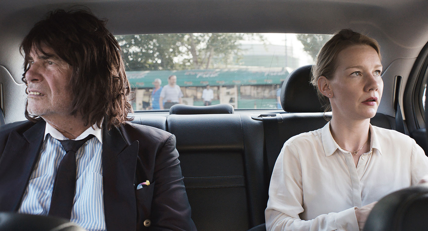 Peter Simonischek, dressed as Toni Erdmann, with Sandra Hüller, as Ines. (Courtesy Sony Pictures Classics)
