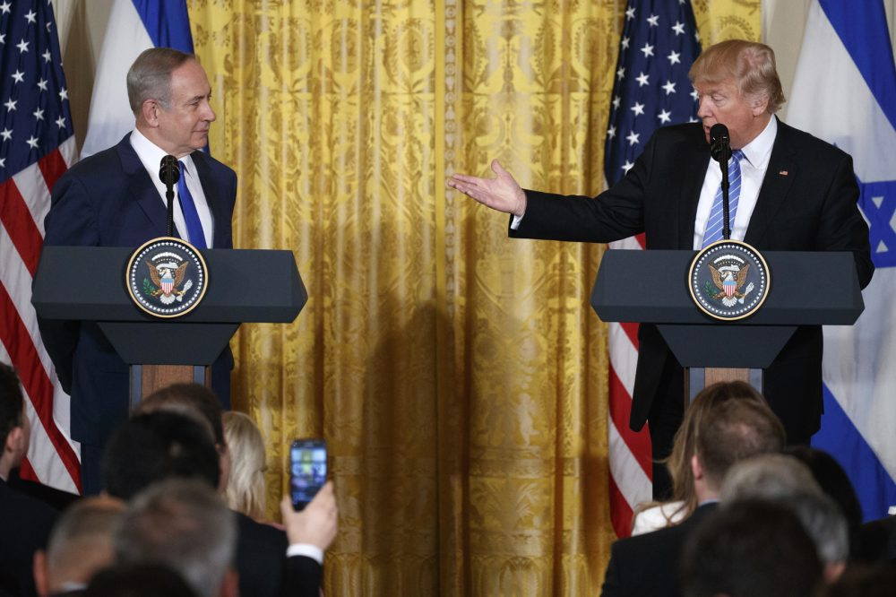 President Donald Trump and Israeli Prime Minister Benjamin Netanyahu participate in a joint news conference in the East Room of the White House in Washington, Wednesday, Feb. 15, 2017. (Evan Vucci/AP)