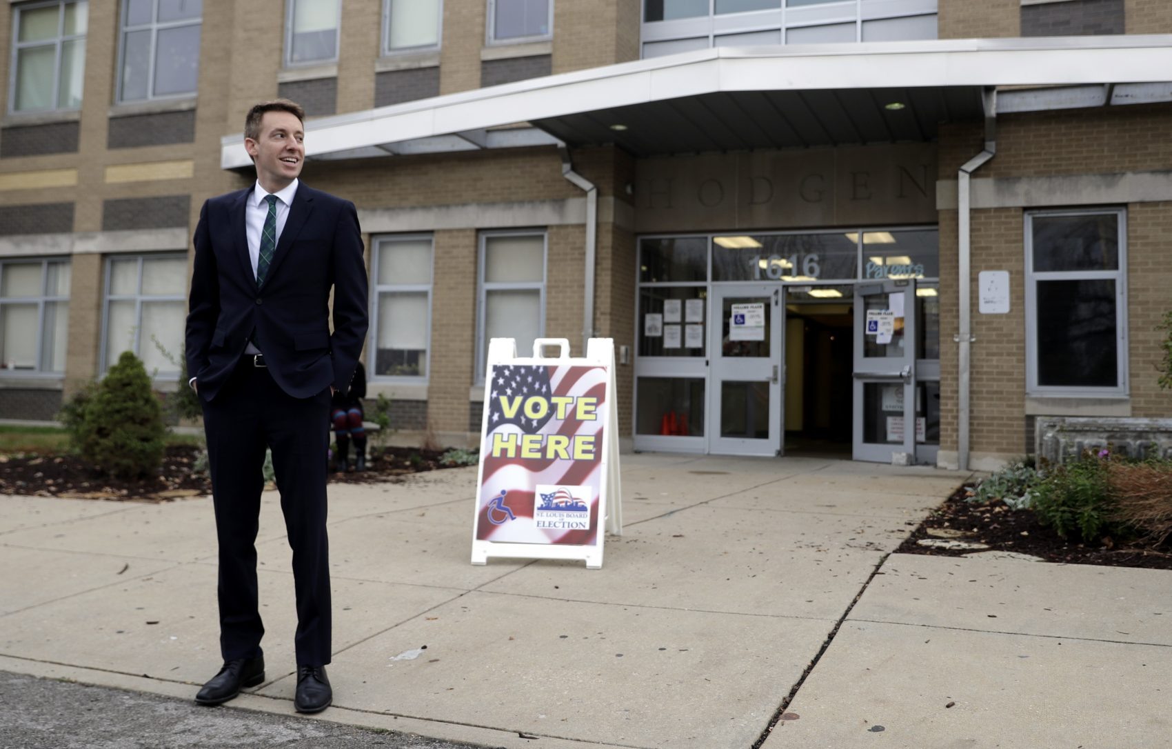 Jason Kander stands outside a polling place on, Nov. 8, 2016, in St. Louis, during his U.S. Senate campaign. (Jeff Roberson/AP)