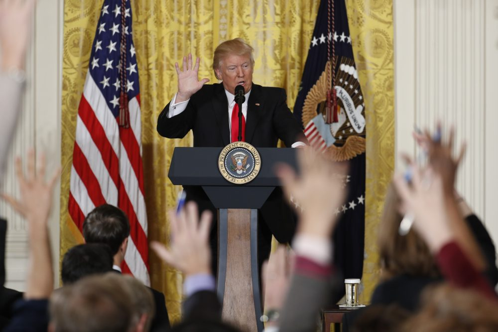President Donald Trump speaks during a news conference, Thursday, Feb. 16, 2017, in the East Room of the White House in Washington. (Pablo Martinez Monsivais/AP)