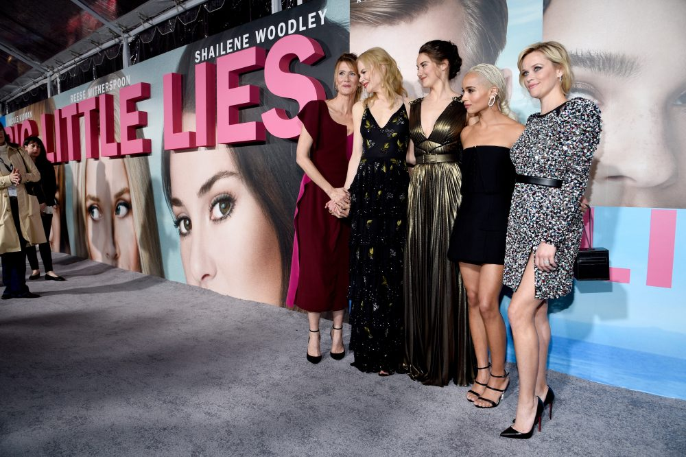 "(L-R) Actors Laura Dern, Nicole Kidman, Shailene Woodley, Zoe Kravitz, and Reese Witherspoon attend the premiere of HBO's ""Big Little Lies"" at TCL Chinese Theatre on Feb. 7, 2017 in Hollywood. (Kevork Djansezian/Getty Images)"