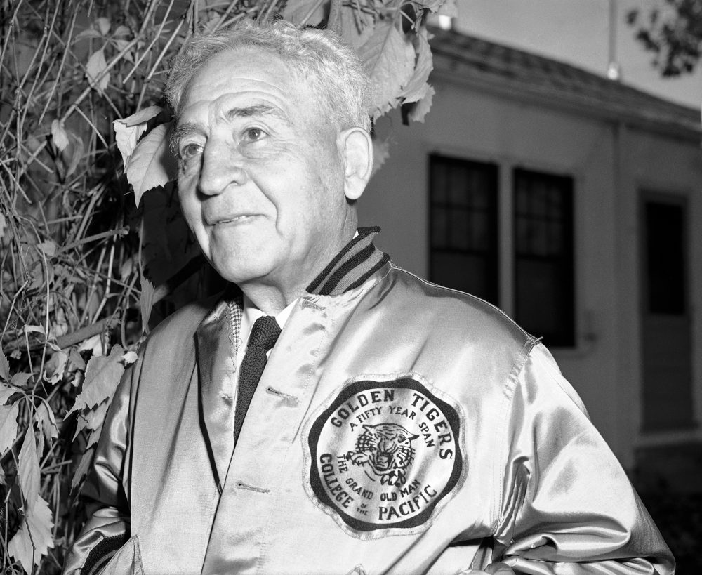 After a long career at the University of Chicago, Amos Alonzo Stagg took a coaching job at College of the Pacific in California. There, he fought for the rights of Japanese-Americans returning from internment camps during WWII. (AP/Joe Rosenthal)