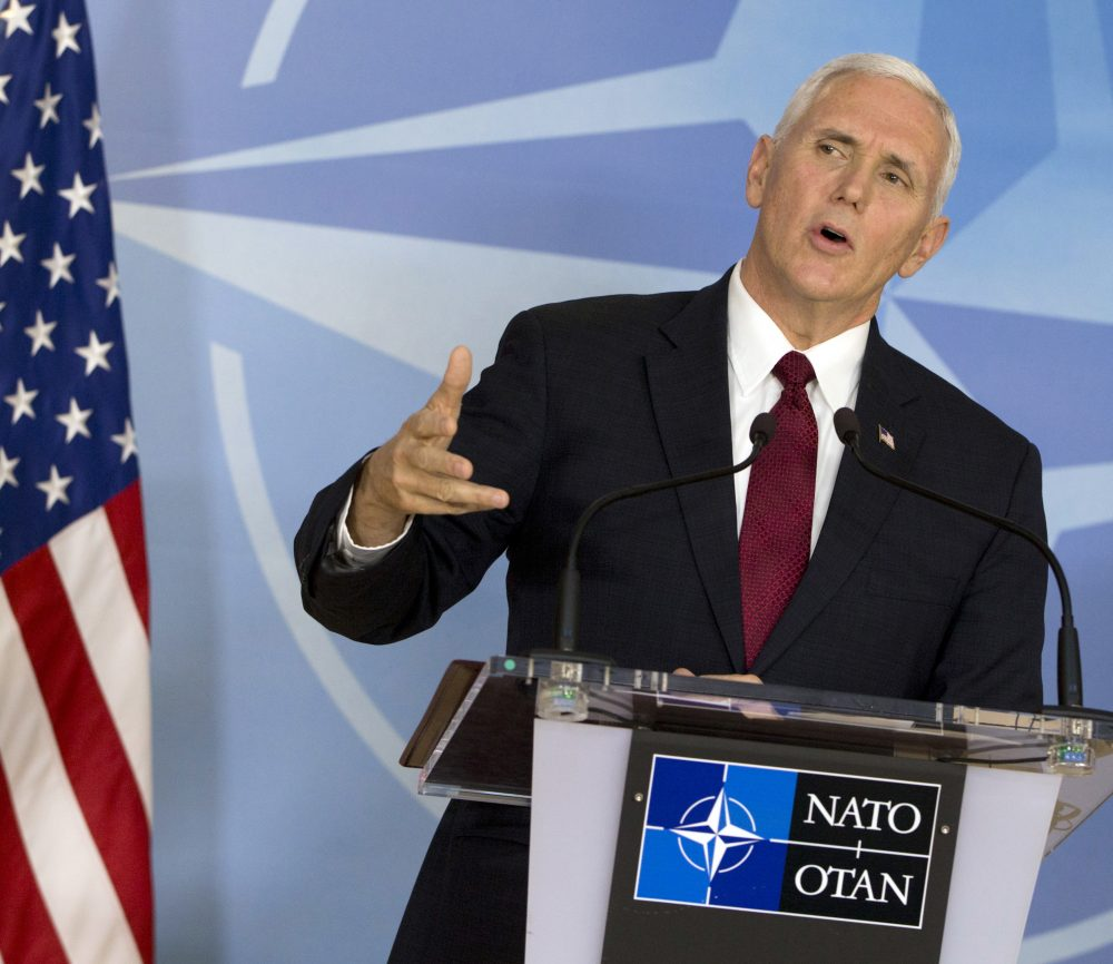 United States Vice President Mike Pence speaks during a media conference at NATO headquarters in Brussels on Monday, Feb. 20, 2017. (Virginia Mayo, Pool/AP)