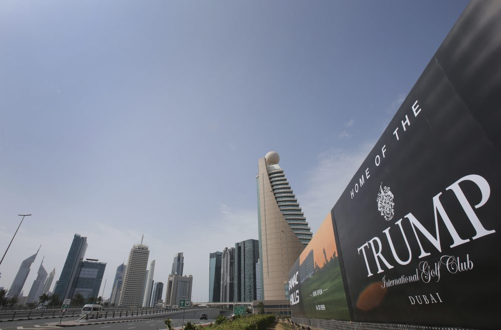 A giant billboard advertising the Trump International Golf Club hangs at the Dubai Trade Center roundabout, in Dubai, United Arab Emirates, Saturday, Feb. 18, 2017. (Kamran Jebreili/AP)
