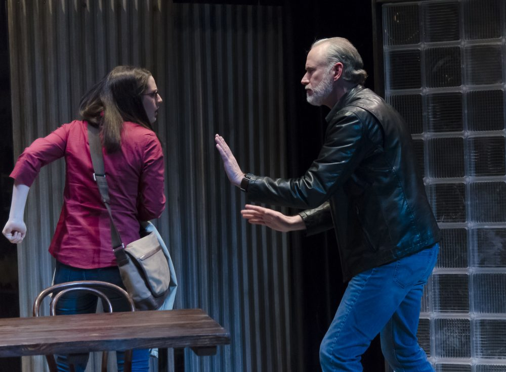 "Grace Georgiadis as Emily and Barlow Adamson as Dave in ""The Honey Trap."" (Courtesy Kalman Zabarsky/Boston Playwrights' Theatre)"