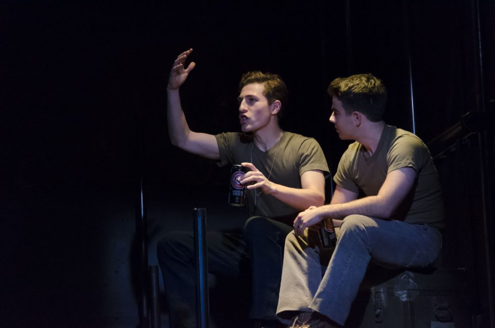 Conrad Sundqvist-Olmos as Young Dave and Ben Swimmer as Bobby. (Courtesy Kalman Zabarsky/Boston Playwrights' Theatre)