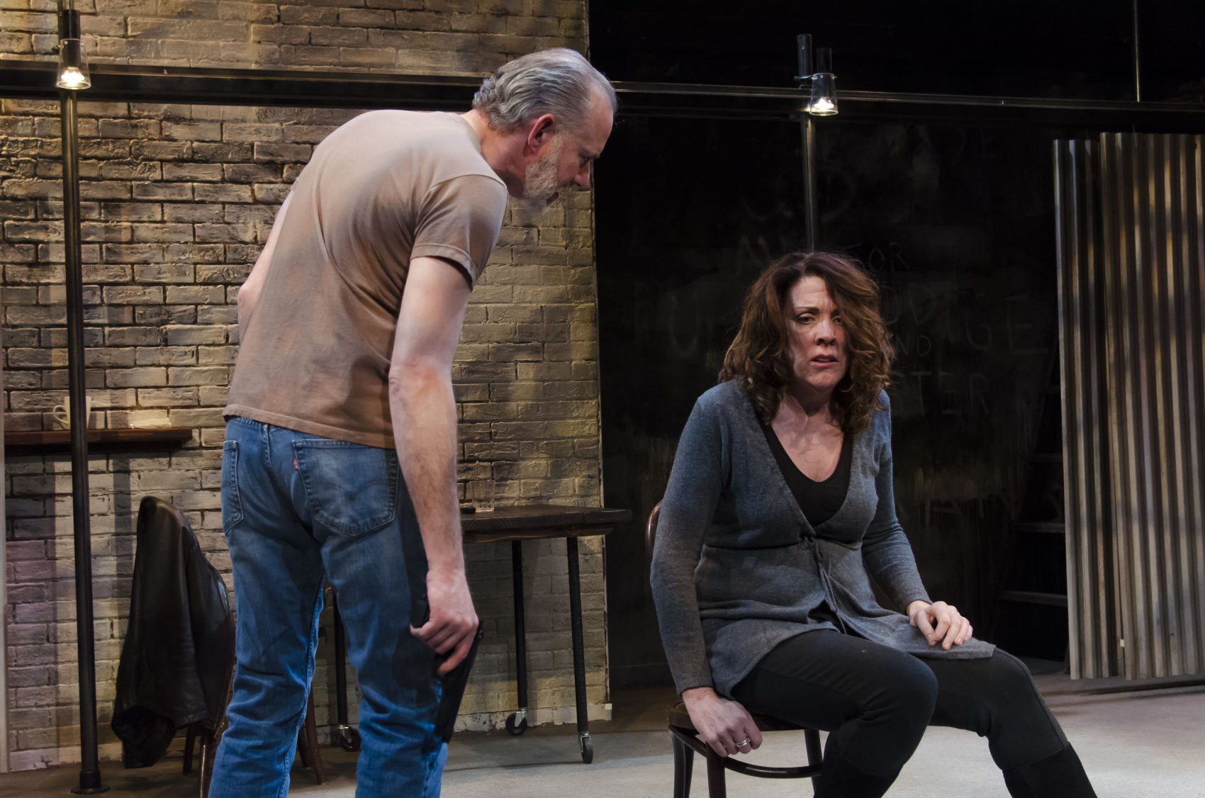 "Barlow Adamson as Dave and Maureen Keiller as Sonia in ""The Honey Trap."" (Courtesy Kalman Zabarsky/Boston Playwrights' Theatre)"