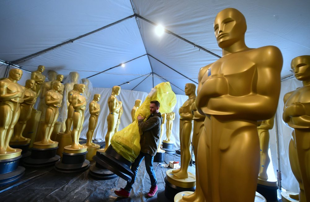 A statue of the Oscar is carried inside a tent in a Hollywood back lot for touching up by scenic artists on on Feb. 21, 2017 in Hollywood, Calif. (Frederic J. Brown/AFP/Getty Images)