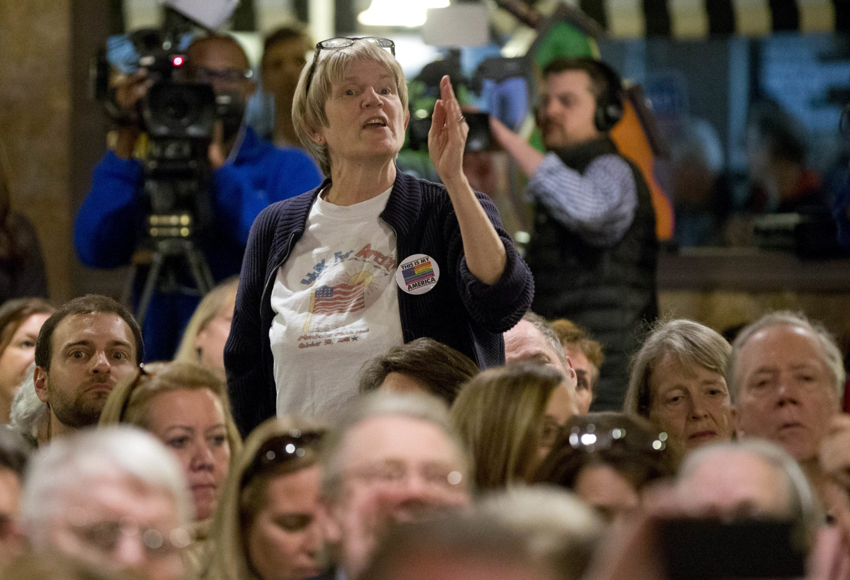 A constituent of congressman Dave Brat, R-Va., responds to the congressman during a town hall meeting in Blackstone, Va., Feb. 21, 2017. (Steve Helber/AP)