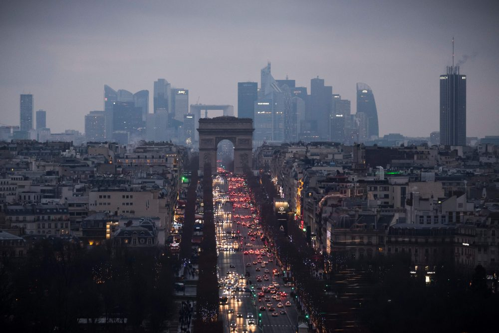 The Champs Elysees and the Arc de Triomphe monument in Paris on Jan. 8, 2017. The city has banned cars from a stretch along the right bank of the Seine. (Lionel Bonaventure/AFP/Getty Images)