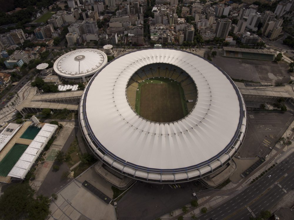 This Feb. 2, 2017 shows Maracana stadium with a dry field in Rio de Janeiro, Brazil. Stadium operators, the Rio state government, and Olympic organizers have fought over $1 million in unpaid electricity bills and management of the venue. (Silvia Izquierdo/AP)