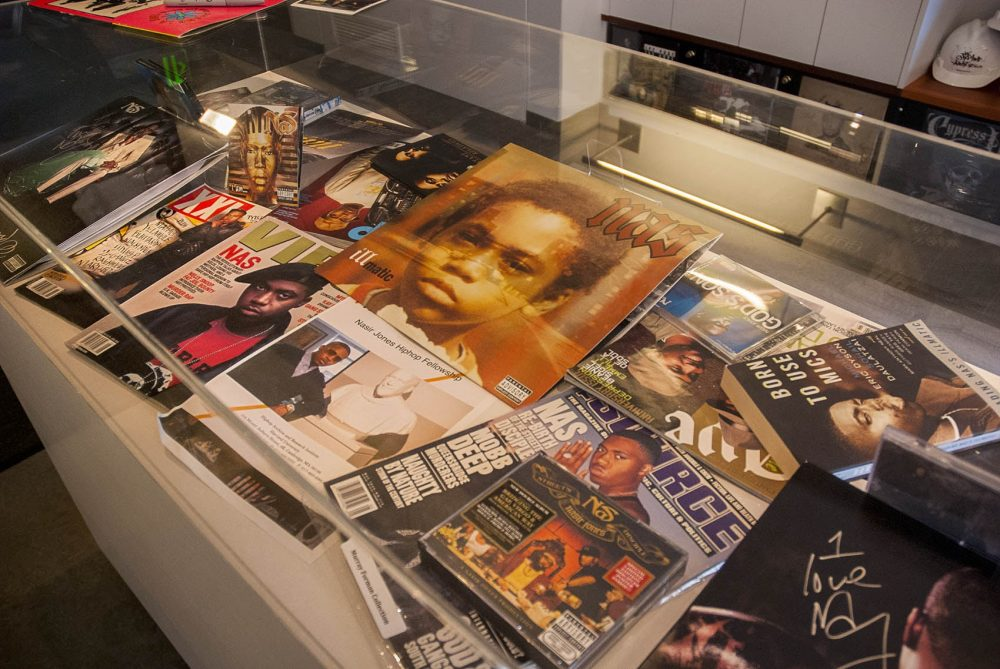 A display case of rap artist Nasir Jones. (Tonya Mosley/WBUR)