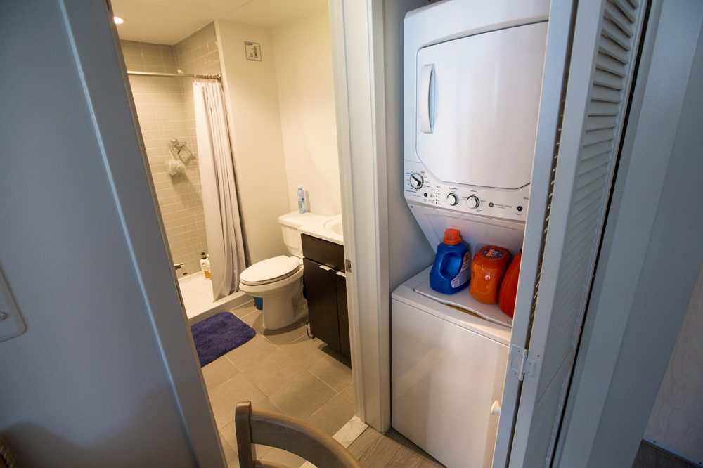 Bathroom and the washer/dryer unit in a small closet (Jesse Costa/WBUR)