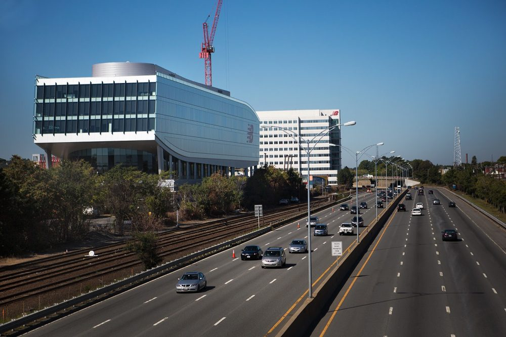 The Boston Landing station is located next to the Mass Pike along the Framingham/Worcester line, near New Balance's Brighton headquarters, pictured here. (Jesse Costa/WBUR)