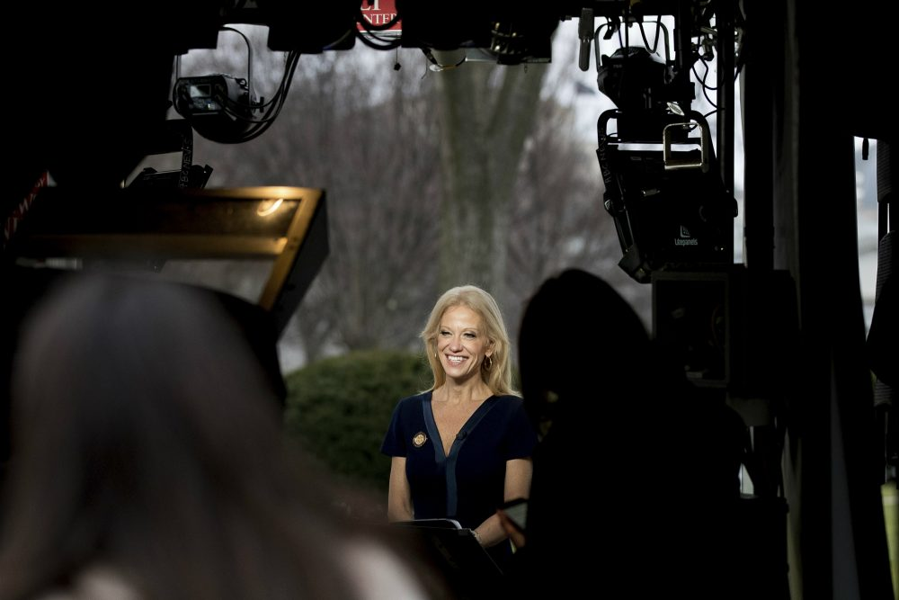 The most effective way to deal with unreliable sources, writes Steve Almond, is to keep them from polluting the airwaves. Pictured: Trump adviser Kellyanne Conway gets ready to speak live on television outside the White House, Sunday, Jan. 22, 2017, in Washington. (Andrew Harnik/AP)