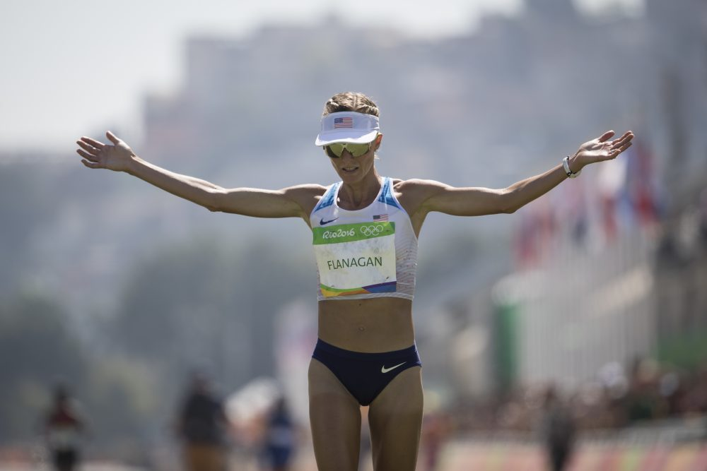 Shalane Flanagan crosses the finish line in Rio last August after completing the women's Olympic marathon. (Felipe Dana/AP)